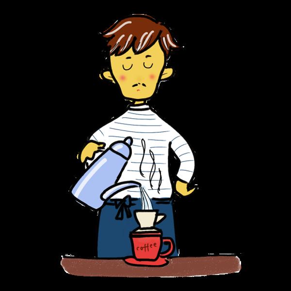 コーヒーを淹れる男
