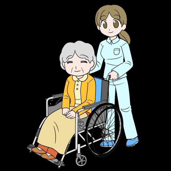 車椅子に乗る人と介護者