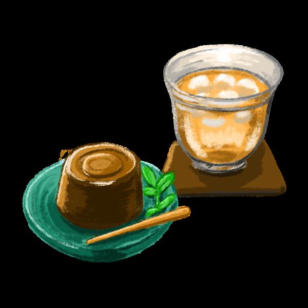 麦茶と水ようかん