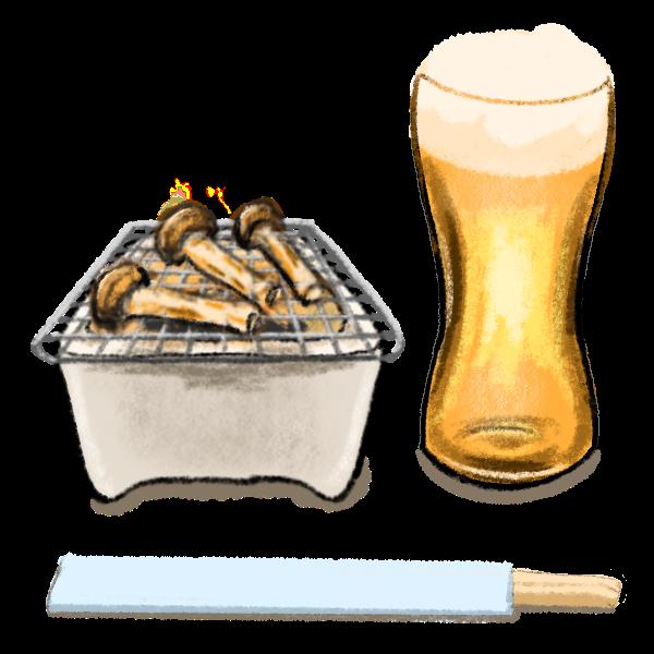 松茸とビール