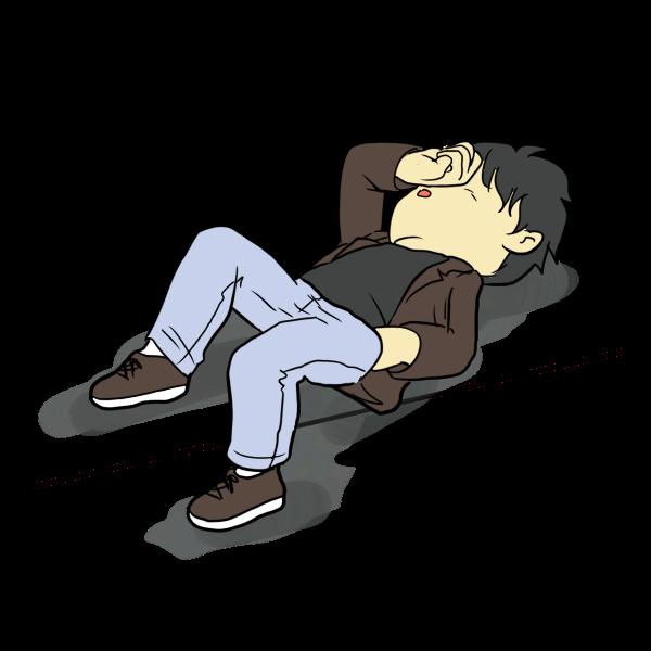 酔って道で寝る人