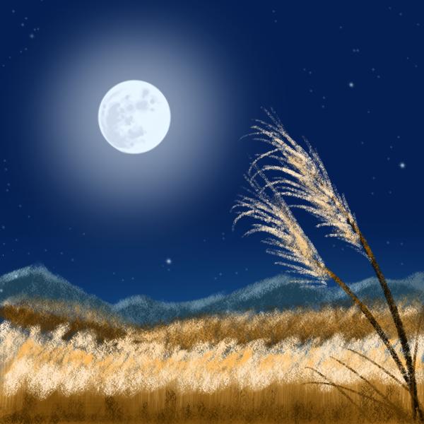 月とススキ原