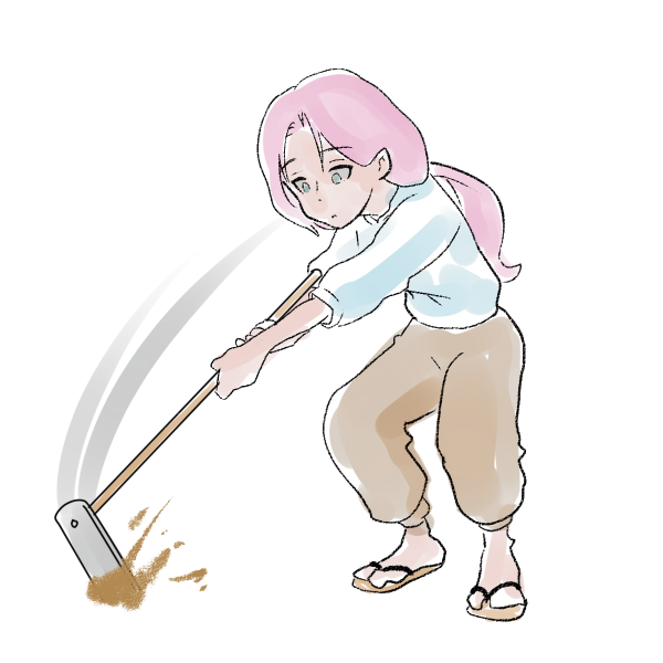 畑を耕す女性