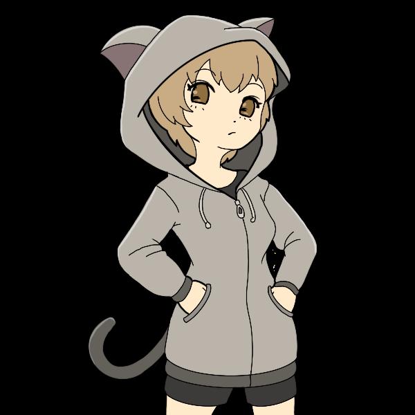 猫耳パーカー少女