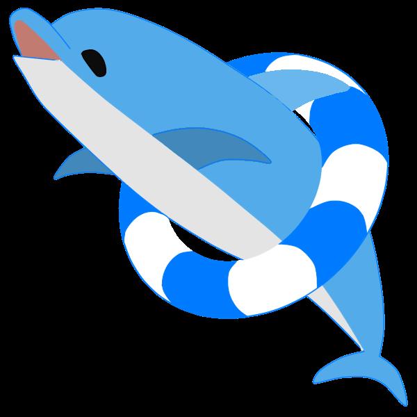 浮き輪を持つイルカ